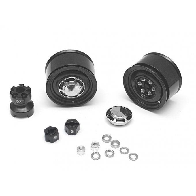 BRW780907RBK - Boom Racing 1.55 Yota LC Classic Rear Beadlock Wheels (2) with 3mm Wideners (2) Black