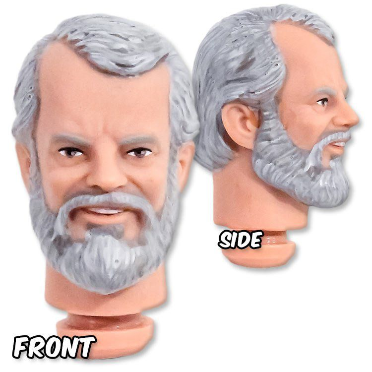HEADJESSIE8inch - 8 inch Older Bearded Man Fully Painted Head