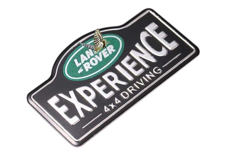 DJC 0659 - LAND ROVER EXPERIENCE 4X4 TRX4 DEFENDER 3D METAL BADGE DECAL STICKER PLATE 1PAIR
