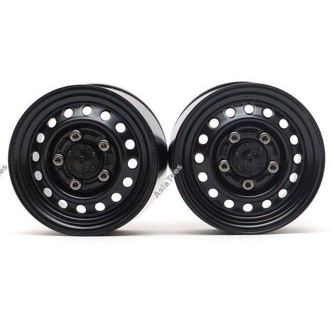 BRW780955RBK BOOM RACING 1.55 16-Hole Classic Steelie Reversible Beadlock Wheels (rear) Black