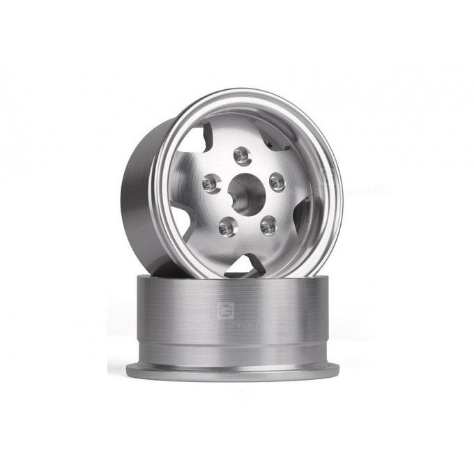 GRC/GAX0138RS - 1.9 Metal Beadlock Wheel for TRX4 Defender & TRC Rover SUV First Gen-Silver