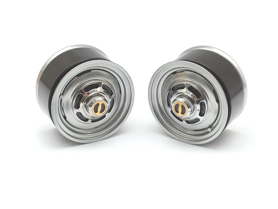 BRW780907FGM - 1.55 Yota LC Classic Front Beadlock Wheels (2) with 3mm Wideners Gun metal