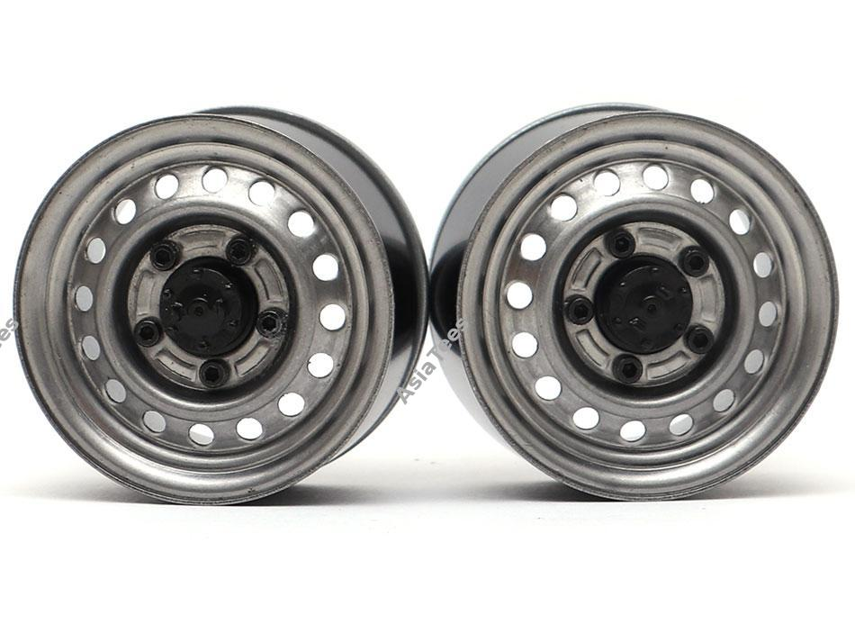 BRW780955FGM BOOM RACING 1.55 16-Hole Classic Steelie Reversible Beadlock Wheels (front) Gun Metal