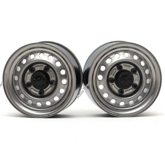 BRW780955RGM BOOM RACING 1.55 16-Hole Classic Steelie Reversible Beadlock Wheels (rear) Gun Metal