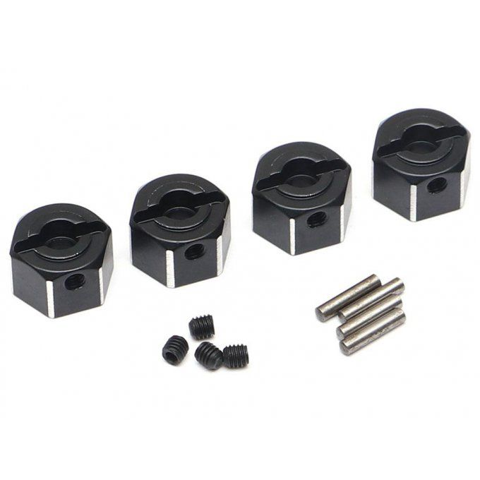 BRLC7056 - 8mm Width Aluminum 12mm Hex Adaptors with Pins & Set Screws (4) Black for BRX01